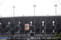 A part of the Darlington Raceway grandstand is void of fans Sunday, May 17, 2020, in Darlington, S.C. NASCAR, which has been idle since March 8 because of the coronavirus pandemic, makes its return with the Real Heroes 400 Nascar Cup Series auto race Sunday. No spectators are allowed, and race teams are only permitted 16 individuals per car, including the driver, owner, crew chief, crew members, spotter and hauler driver. (AP Photo/Brynn Anderson)