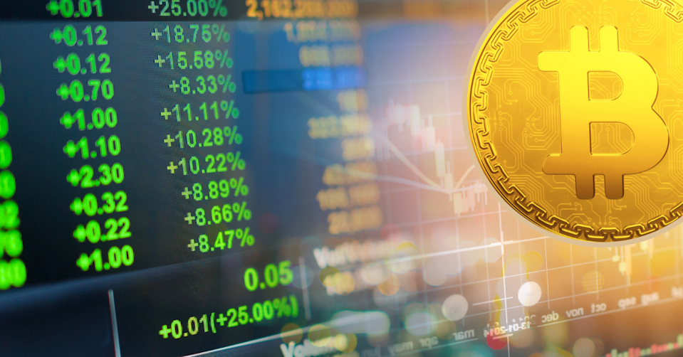A stock screen showing continuous prices rises a Bitcoin