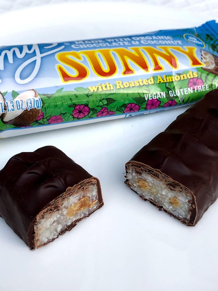 "<p>If you love Almond Joy, you're going to love <a href=""https://www.popsugar.com/buy/Amy-Organic-Sunny-Candy-Bar-499343?p_name=Amy%27s%20Organic%20Sunny%20Candy%20Bar&retailer=amazon.com&pid=499343&price=30&evar1=fit%3Aus&evar9=46724898&evar98=https%3A%2F%2Fwww.popsugar.com%2Ffitness%2Fphoto-gallery%2F46724898%2Fimage%2F46730104%2FAmy-Sunny-Candy-Bar&prop13=api&pdata=1"" rel=""nofollow"" data-shoppable-link=""1"" target=""_blank"" class=""ga-track"" data-ga-category=""Related"" data-ga-label=""https://www.amazon.com/Amys-Organic-Sunny-Candy-Ounce/dp/B071WRDSVZ/ref=pd_bxgy_121_img_2/144-6891722-8053430?_encoding=UTF8&amp;pd_rd_i=B071WRDSVZ&amp;pd_rd_r=10610703-4bf3-42da-8d77-42b420046424&amp;pd_rd_w=0bg4N&amp;pd_rd_wg=PuQtv&amp;pf_rd_p=3edd75bb-e36e-488e-b666-80dd1a52c658&amp;pf_rd_r=5N339DBXZR9JPKVPA9EX&amp;psc=1&amp;refRID=5N339DBXZR9JPKVPA9EX"" data-ga-action=""In-Line Links"">Amy's Organic Sunny Candy Bar</a> ($30 for 12 bars), which is vegan and gluten-free. Chewy coconut and roasted almonds are covered in a smooth layer of organic dark chocolate. I actually like this better than Almond Joy because there are pieces of roasted almonds rather than whole almonds.</p>"
