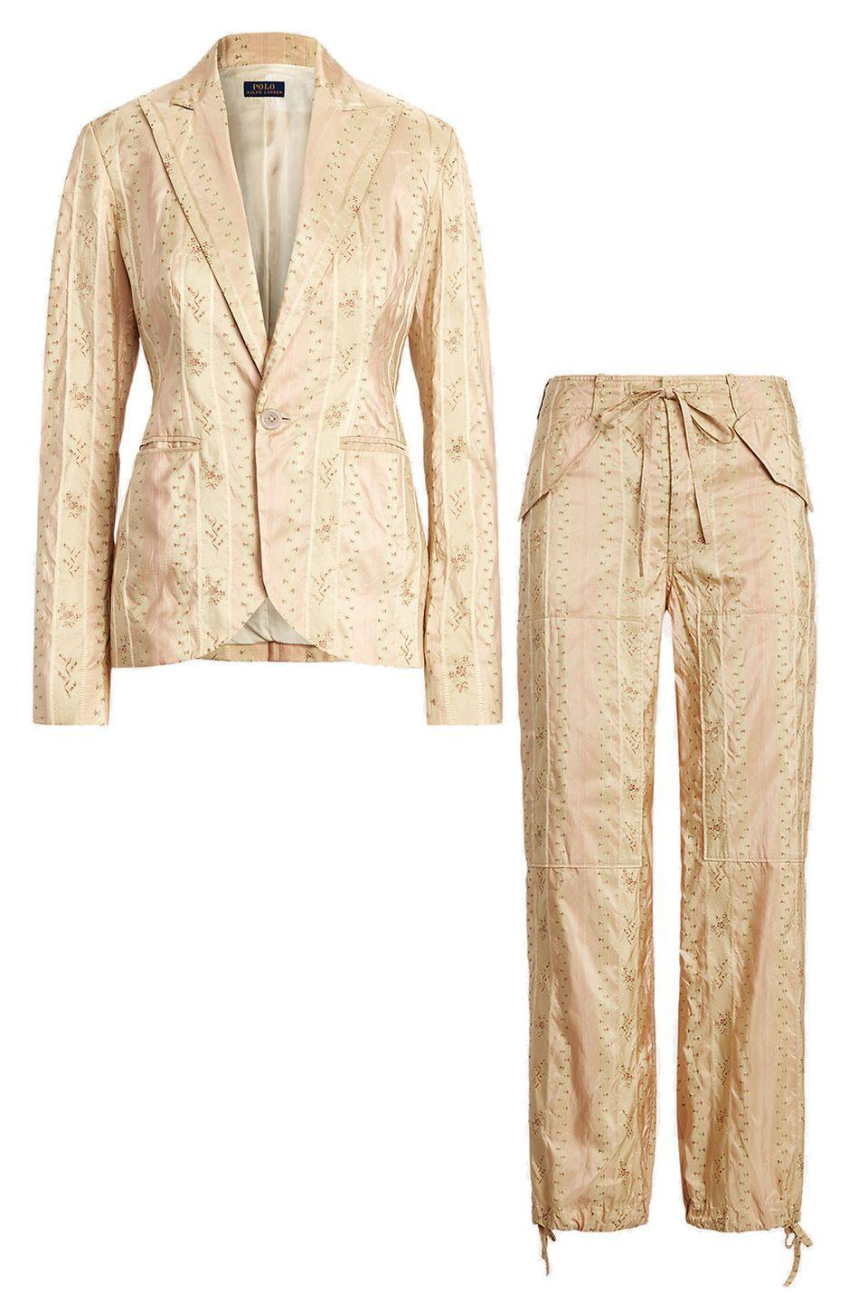"""<p>If white isn't flattering on your complexion, consider this luxurious floral silk tapestry set from Ralph Lauren, which reflects a warm glow. Cinch the drawstrings at the ankles for a more fitted look.<br></p><p><a href=""""https://go.skimresources.com?id=74968X1525087&xs=1&url=https%3A%2F%2Fwww.ralphlauren.com%2Fwomen-clothing-blazers%2Ffloral-silk-blend-blazer%2F532604.html%3Fdwvar532604_colorname%3DPink%2520Floral%26cgid%3Dwomen-clothing-blazers%26webcat%3DWomen%252FClothing%252FBlazers%23webcat%3Dwomen%25257Cclothing%25257CBlazers%26start%3D1%26cgid%3Dwomen-clothing-blazers"""" rel=""""nofollow noopener"""" target=""""_blank"""" data-ylk=""""slk:Ralph Lauren Blazer"""" class=""""link rapid-noclick-resp""""><br>Ralph Lauren Blazer</a><a href=""""https://go.skimresources.com?id=74968X1525087&xs=1&url=https%3A%2F%2Fwww.ralphlauren.com%2Fwomen-clothing-pants%2Ffloral-silk-blend-cargo-pant%2F532598.html%3Fwebcat%3Dcompletethelook%26dwvar532598_colorname%3DPink%2520Floral%26pdpR%3Dy"""" rel=""""nofollow noopener"""" target=""""_blank"""" data-ylk=""""slk:Ralph Lauren Pant"""" class=""""link rapid-noclick-resp""""><br>Ralph Lauren Pant</a></p>"""