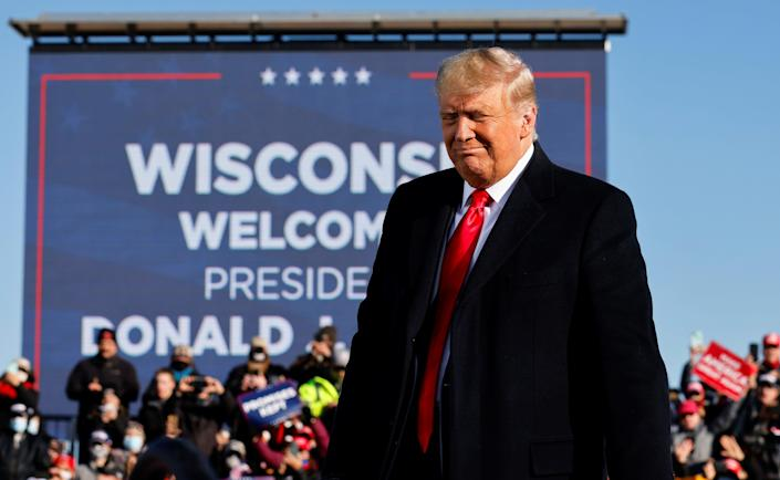 <p>President Trump was on the trail in Green Bay, Wisconsin, on Friday, the second of three planned rallies with four days to go. </p> (REUTERS)