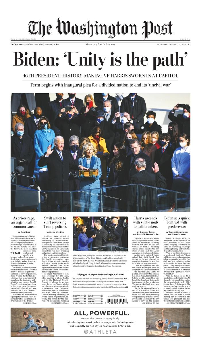 January 21, 2021 front page of The Washington Post
