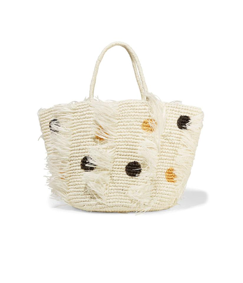 "<p>Frayed Polka-Dot Woven Toquilla Straw Tote, $320, <a rel=""nofollow"" href=""https://www.net-a-porter.com/us/en/product/856129/Sensi_Studio/frayed-polka-dot-woven-toquilla-straw-tote"">net-a-porter.com</a>. </p>"