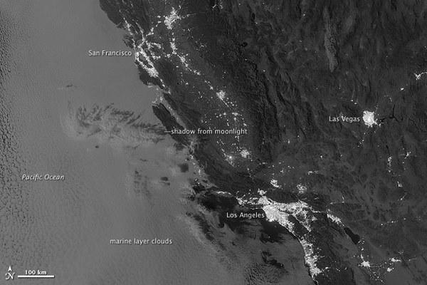 Marine layer clouds seen off the California coast at night by the Suomi NPP satellite, which can see certain nighttime features that were undetectable by previous satellite methods.