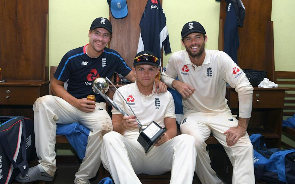 Rory Burns, Sam Curran and Ben Foakes celebrate after the 3-0 series victory in Sri Lanka in 2018 - GETTY