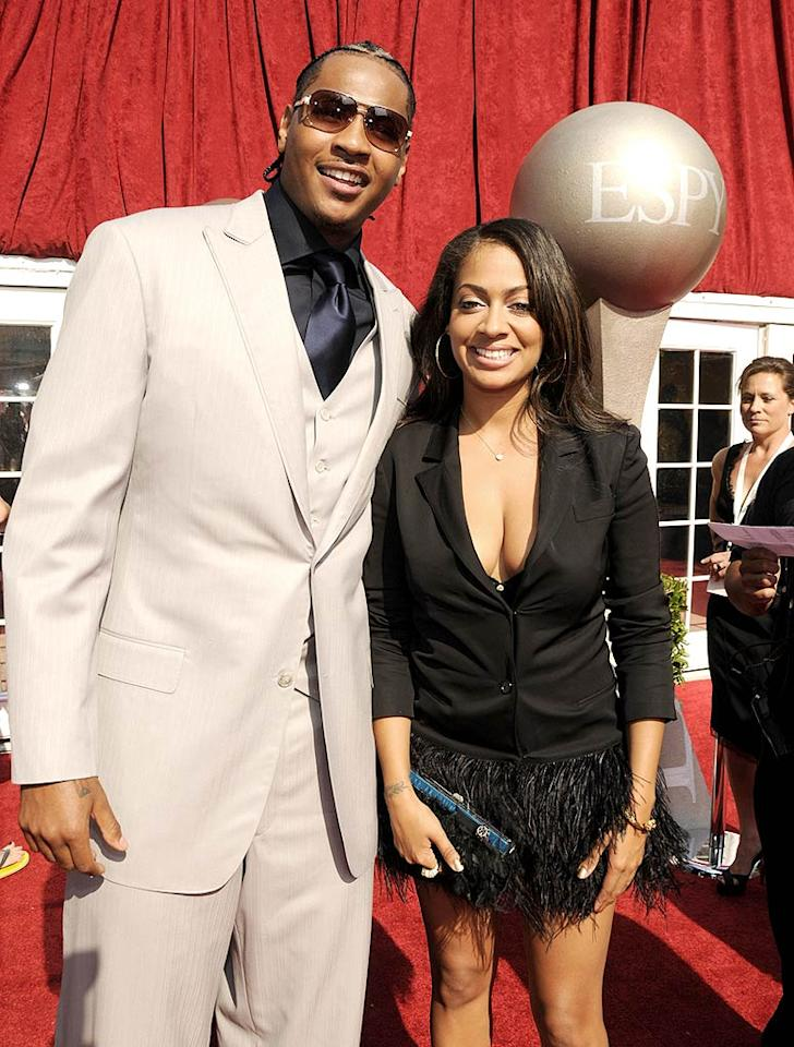 """Carmelo Anthony's suit was tailored to perfection, while his fiancee La La Vasquez's jacket and skirt were super sloppy. Kevin Mazur/<a href=""""http://www.wireimage.com"""" target=""""new"""">WireImage.com</a> - July 16, 2008"""