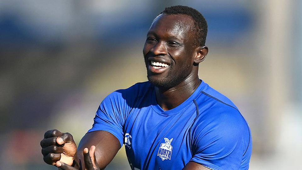 Pictured here, Majak Daw is set to return to AFL action after more than 700 days out.
