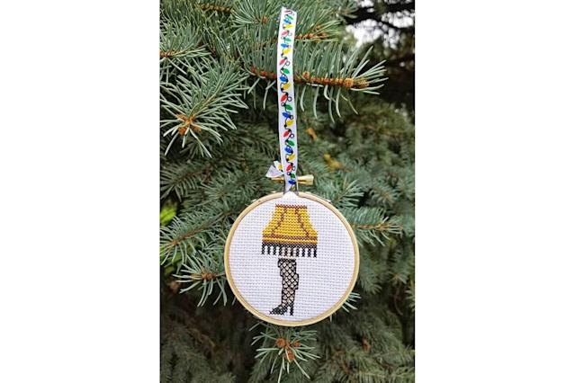 "<p>The next best thing to the actual leg lamp from the classic movie is this cute-as-a-button cross-stitched ornament. And maybe Santa will leave you a replica of the lamp under the tree… if you haven't been naughty. <strong><a href=""https://www.etsy.com/listing/564562493/leg-lamp-ornament-christmas-story"" rel=""nofollow noopener"" target=""_blank"" data-ylk=""slk:Buy here"" class=""link rapid-noclick-resp"">Buy here</a></strong> </p>"