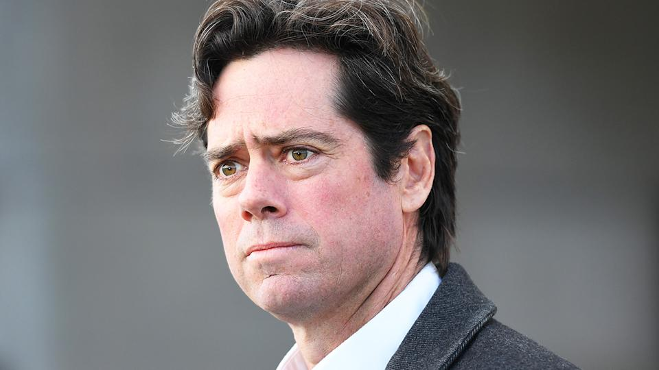 AFL CEO Gillon McLachlan is pictured during a press conference.