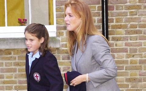 Princess Eugenie arriving with her mother, the Duchess of York, for her first day at St George's School - Credit: Tim Ockenden/PA