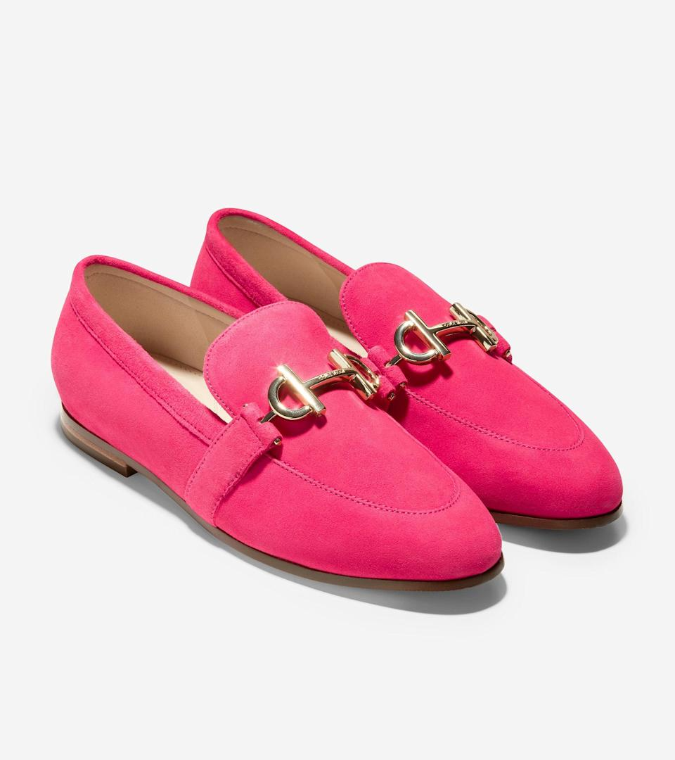 """<br><br><strong>Cole Haan</strong> Modern Classics Loafer, $, available at <a href=""""https://go.skimresources.com/?id=30283X879131&url=https%3A%2F%2Fwww.colehaan.com%2Fmodern-classics-loafer-bright-berry%2FW20816.html"""" rel=""""nofollow noopener"""" target=""""_blank"""" data-ylk=""""slk:Cole Haan"""" class=""""link rapid-noclick-resp"""">Cole Haan</a>"""