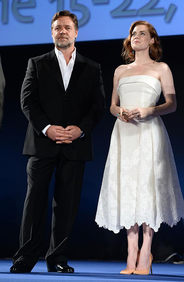 TAORMINA, ITALY - JUNE 15:  Russell Crowe and Amy Adams attend Opening Ceremony and 'Man of Steel Premiere' during the Taormina Filmfest 2013 at Teatro Antico on June 15, 2013 in Taormina, Italy.  (Photo by Venturelli/Getty Images)
