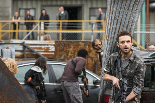 <p>Ross Marquand as Aaron, Austin Amelio as Dwight, Josh McDermitt as Dr. Eugene Porter, Xander Berkeley as Gregory, Steven Ogg as Simon, and Jeffrey Dean Morgan as Negan in AMC's <i>The Walking Dead</i>.<br>(Photo: Gene Page/AMC) </p>