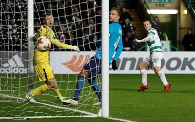 Soccer Football - Europa League Round of 32 First Leg - Celtic vs Zenit Saint Petersburg - Celtic Park, Glasgow, Britain - February 15, 2018 Celtic's Callum McGregor scores their first goal Action Images via Reuters/Lee Smith