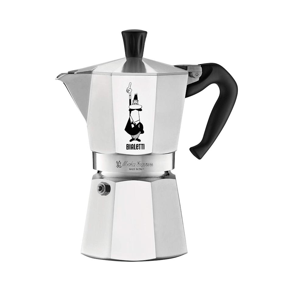 """<h3>Bialetti Moka Express Stovetop Coffee Maker<br></h3><br>""""I received this as a gift, and expected it to be tricky to use, so I let it sit in its box under my sink for months before finally deciding to try it out. When I finally did use it, I quickly learned that I was wrong — it couldn't be simpler. You fill the bottom part with water, and the filter with espresso grounds, then place the whole thing on the stovetop until the espresso burbles up into the kettle. I haven't put it back under the sink since I made my first cappuccino. (Mine is a three-cup style; you can find them in one-, three-, six-, nine-, and 12-cup sizes.)"""" — <em>Mirel Zaman, Deputy Director of Lifestyle, Wellbeing, & Social issues </em><br><br><strong>Bialetti</strong> Bialetti Express Moka Pot, 6 -Cup, Aluminum Silver, $, available at <a href=""""https://www.amazon.com/Bialetti-06800-stove-coffee-Aluminum/dp/B000CNY6UK/ref=sr_1_1_sspa?"""" rel=""""nofollow noopener"""" target=""""_blank"""" data-ylk=""""slk:Amazon"""" class=""""link rapid-noclick-resp"""">Amazon</a>"""