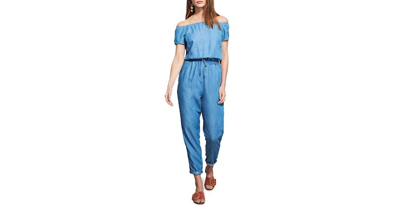 Sosandar Bardot Denim Jumpsuit