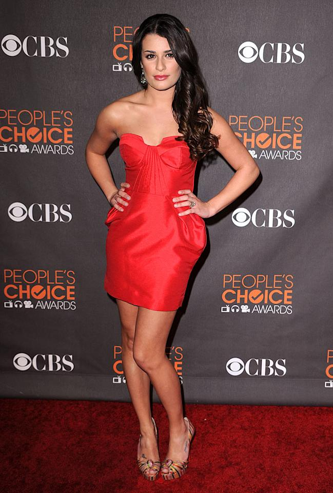 """Glee's"" Lea Michele set hearts afire in a strapless fire-engine red cocktail frock and striped peep-toes minutes before her FOX show was deemed Favorite New TV Comedy. Steve Granitz/<a href=""http://www.wireimage.com"" target=""new"">WireImage.com</a> - January 6, 2010"
