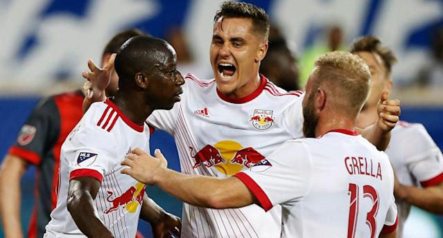 The Red Bulls celebrate BWP's bicycle kick. (USA Today Sports)