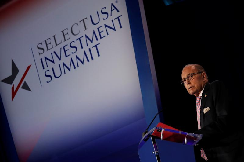 White House economic adviser Larry Kudlow delivers remarks at SelectUSA Investment Summit in Washington D.C., U.S. June 11, 2019. REUTERS/Carlos Barria