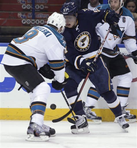 St. Louis Blues' David Perron (57) and San Jose Sharks' Joe Pavelski (8) look to control the puck in the second period of an NHL hockey game, Sunday, Feb. 12, 2012, in St. Louis. (AP Photo/Tom Gannam)