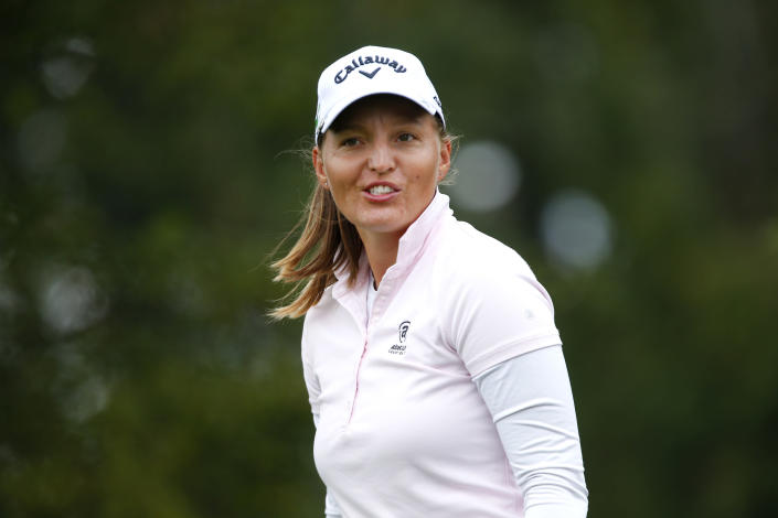 Perrine Delacour walks to the second hole during the third round of the LPGA's Cognizant Founders Cup golf tournament Saturday, Oct. 9, 2021, in West Caldwell, N.J. (AP Photo/Noah K. Murray)