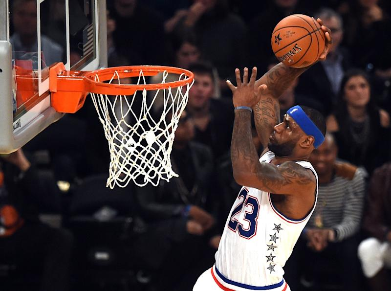 East NBA All Star LeBron James goes to the basket during the 64th NBA All-Star Game at Madison Square Garden in New York, February 15, 2015