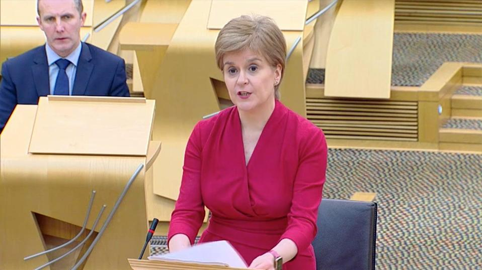 <p>Nicola Sturgeon unveils her framework for ending coronavirus restrictions to the Scottish Parliament</p> (Scottish Parliament)