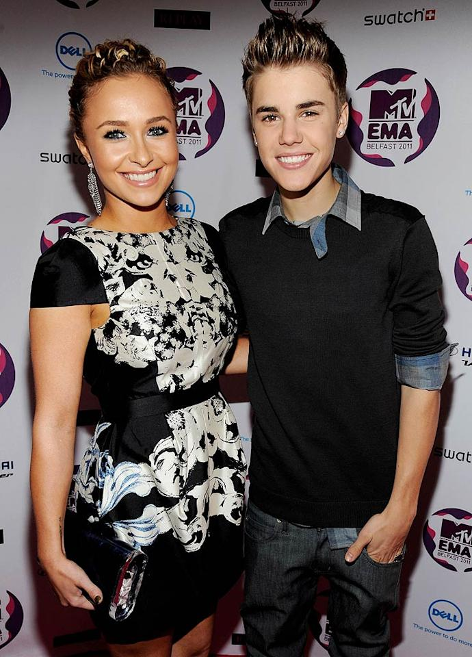 Hayden Panettiere and Justin Bieber made a cute duo at the MTV Europe Music Awards held at the Odyssey Arena in Belfast, Northern Ireland, where JBiebs snagged trophies for best male act and best pop act. (11/6/2011)
