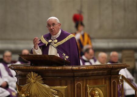 Pope Francis attends a Penitential Liturgy ceremony in Vatican
