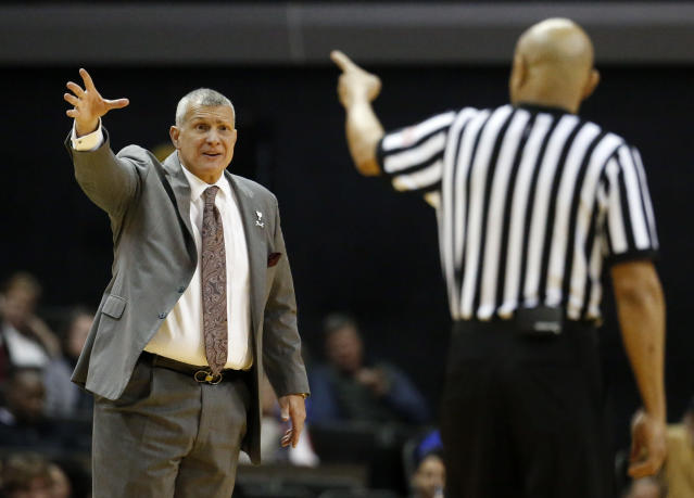 South Carolina coach Frank Martin questions a call during the second half of the team's NCAA college basketball game against Vanderbilt on Wednesday, Jan. 16, 2019, in Nashville, Tenn. (AP Photo/Mark Humphrey)
