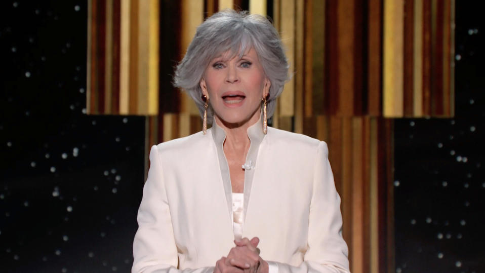 UNSPECIFIED: 78th Annual GOLDEN GLOBE AWARDS -- Pictured in this screengrab released on February 28, (l-r) Jane Fonda speaks onstage during the 78th Annual Golden Globe Awards broadcast on February 28, 2021. -- (Photo by NBC/NBCU Photo Bank via Getty Images)