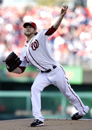 Washington Nationals starting pitcher Ross Detwiler throws to the St. Louis Cardinals in the first inning of Game 4 of the National League division baseball series on Thursday, Oct. 11, 2012, in Washington. (AP Photo/Alex Brandon)