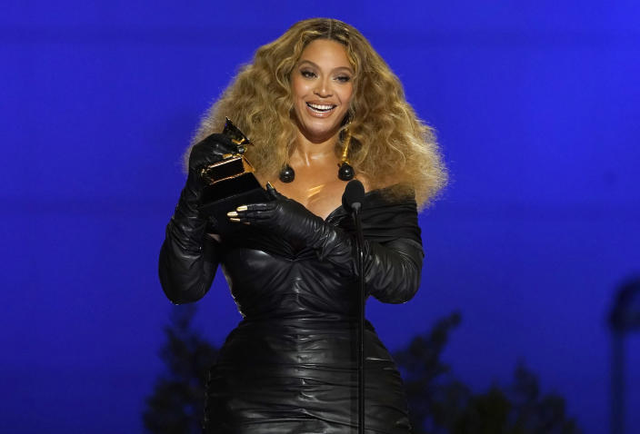 """FILE - Beyonce accepts the award for best R&B performance for """"Black Parade"""" at the 63rd annual Grammy Awards on March 14, 2021. The singer turns 40 on Sept. 4. (AP Photo/Chris Pizzello, File)"""