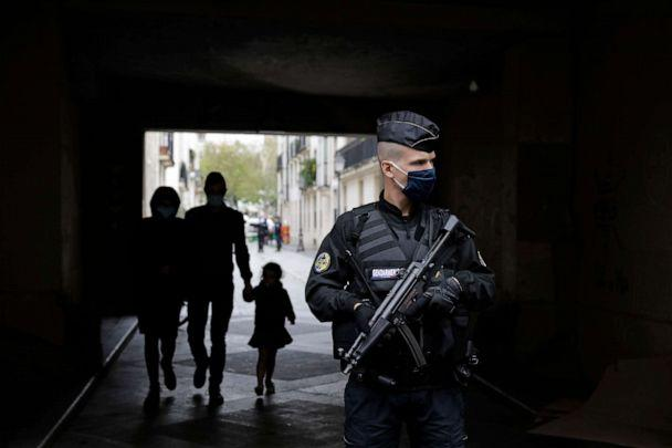 PHOTO: A French gendarme guards a street after a knife attack near the former offices of satirical newspaper Charlie Hebdo in Paris, Sept. 25, 2020. (Lewis Joly/AP)