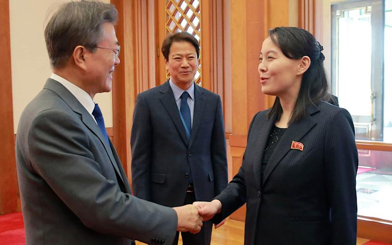 In 2018 Kim Yo-jong greeted President Moon Jae-in with a handshake but now she has turned on him - KCNA/AFP