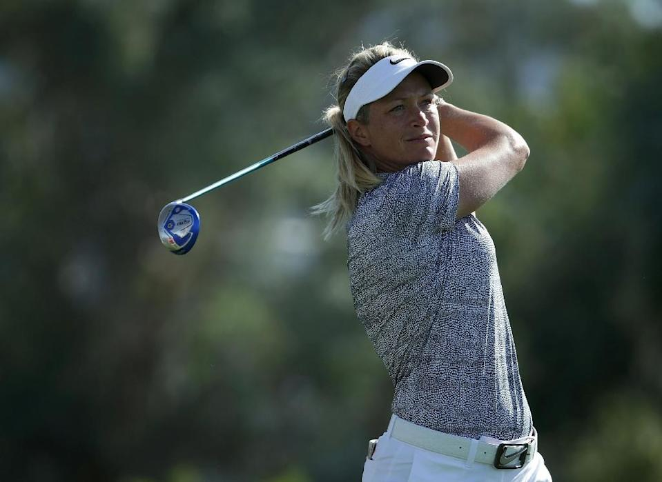 Suzann Pettersen of Norway plays her tee shot on the sixth hole during the second round of the ANA Inspiration in Rancho Mirage, California (AFP Photo/JEFF GROSS)