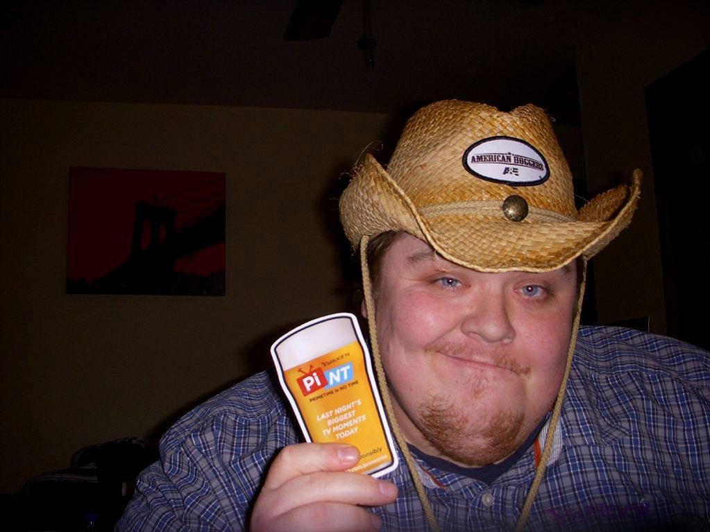 """The """"<a href=""""/american-hoggers/show/47552"""">American Hoggers</a>"""" cowboy hat is a perfect fit for <a href=""""https://twitter.com/#!/AntiFamous"""" rel=""""nofollow"""">@AntiFamous</a>! Winning!"""