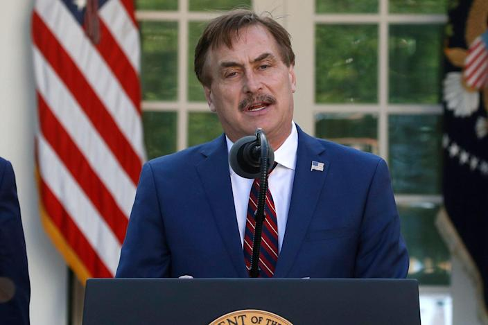 <p>File Image:  In this 30 March 2020 photo, MyPillow CEO Mike Lindell speaks in the Rose Garden of the White House in Washington</p> (Associated Press)