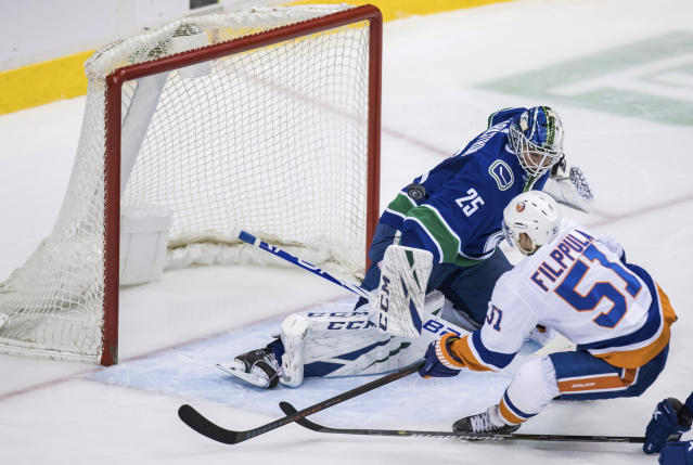 New York Islanders' Valtteri Filppula, front, of Finland, is stopped by Vancouver Canucks goalie Jacob Markstrom, of Sweden, during the second period of an NHL hockey game Saturday, Feb. 23, 2019, in Vancouver, British Columbia. (Darryl Dyck/The Canadian Press via AP)