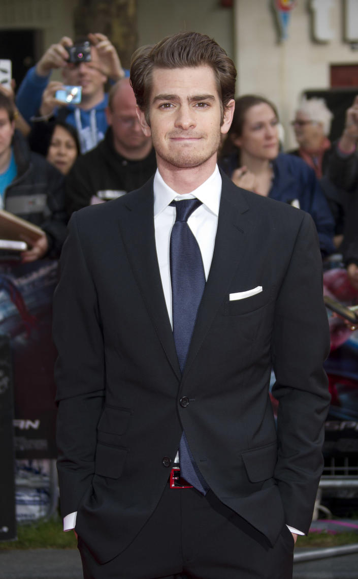 British actor Andrew Garfield arrives for the UK premiere of The Amazing Spider-Man at a central London cinema, Monday, June 18, 2012. (AP Photo/Joel Ryan)