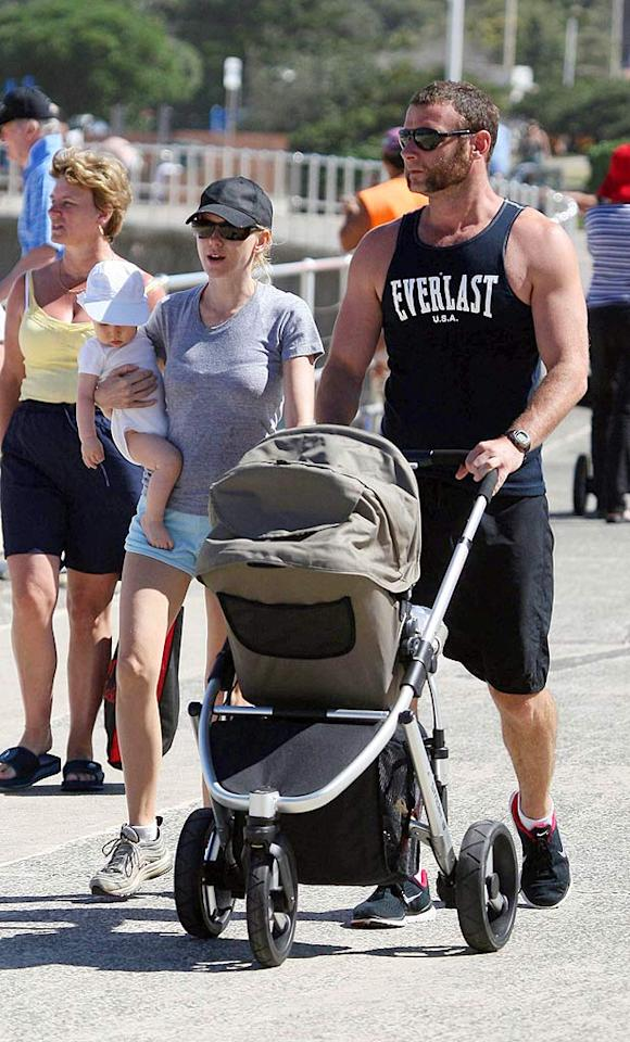 "New parents Naomi Watts and Liev Schreiber hit Australia's Bondi Beach with their son, Alexander. Picture Media/<a href=""http://www.infdaily.com"" target=""new"">INFDaily.com</a> - April 1, 2008"