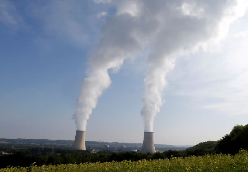 FILE PHOTO: Cooling towers are seen near the Golfech nuclear plant on the border of the Garonne River between Agen and Toulouse, France