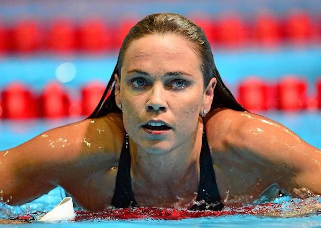 June 25, 2012; Omaha, NE, USA; Natalie Coughlin competes in the finals for the women's 100m butterfly in the 2012 U.S. Olympic swimming team trials at the CenturyLink Center. Mandatory Credit: Andrew Weber-US PRESSWIRE