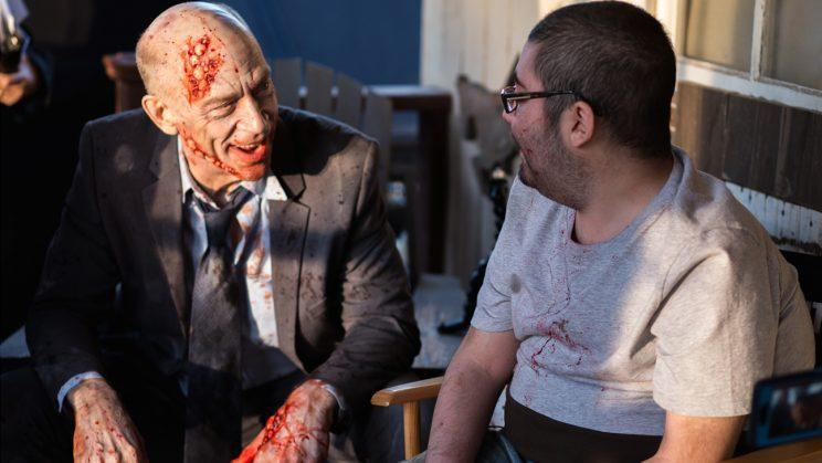 J.K. Simmons catches up with Anthony Conti on the set of