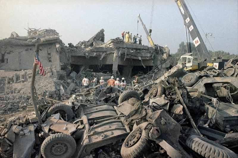 FILE -This Sunday, Oct. 23, 1983 file photo shows the aftermath of a suicide truck bombing of the U.S. Marines barracks in Beirut, Lebanon. The blast _ the single deadliest attack on U.S. forces abroad since World War II _ claimed the lives of 241 American service members.(AP Photo/Jim Bourdier, File)