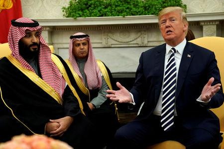 FILE PHOTO: U.S. President Donald Trump welcomes Saudi Arabia's Crown Prince Mohammed bin Salman in the Oval Office at the White House in Washington, U.S. March 20, 2018.  REUTERS/Jonathan Ernst/File Photo