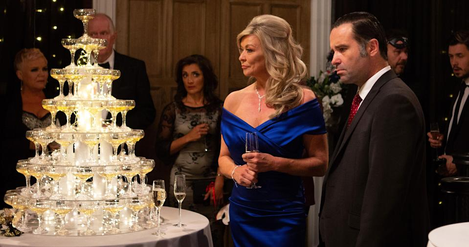 Kim Tate with Graham Foster at her upcoming Masquerade Ball at Tate Farm. (ITV Pictures)