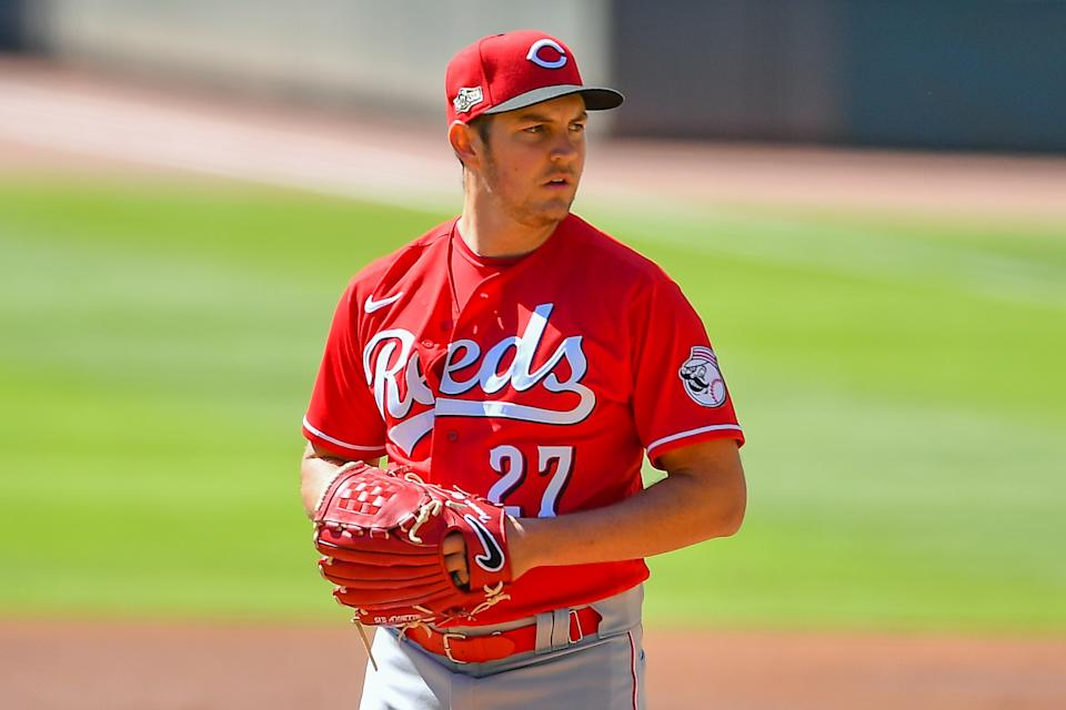 ATLANTA, GA  SEPTEMBER 30:  Cincinnati Reds starting pitcher Trevor Bauer (27) looks in for the sign during the National League Wild Card Series game between the Cincinnati Reds and the Atlanta Braves on September 30th, 2020 at Truist Park in Atlanta, GA. (Photo by Rich von Biberstein/Icon Sportswire via Getty Images)