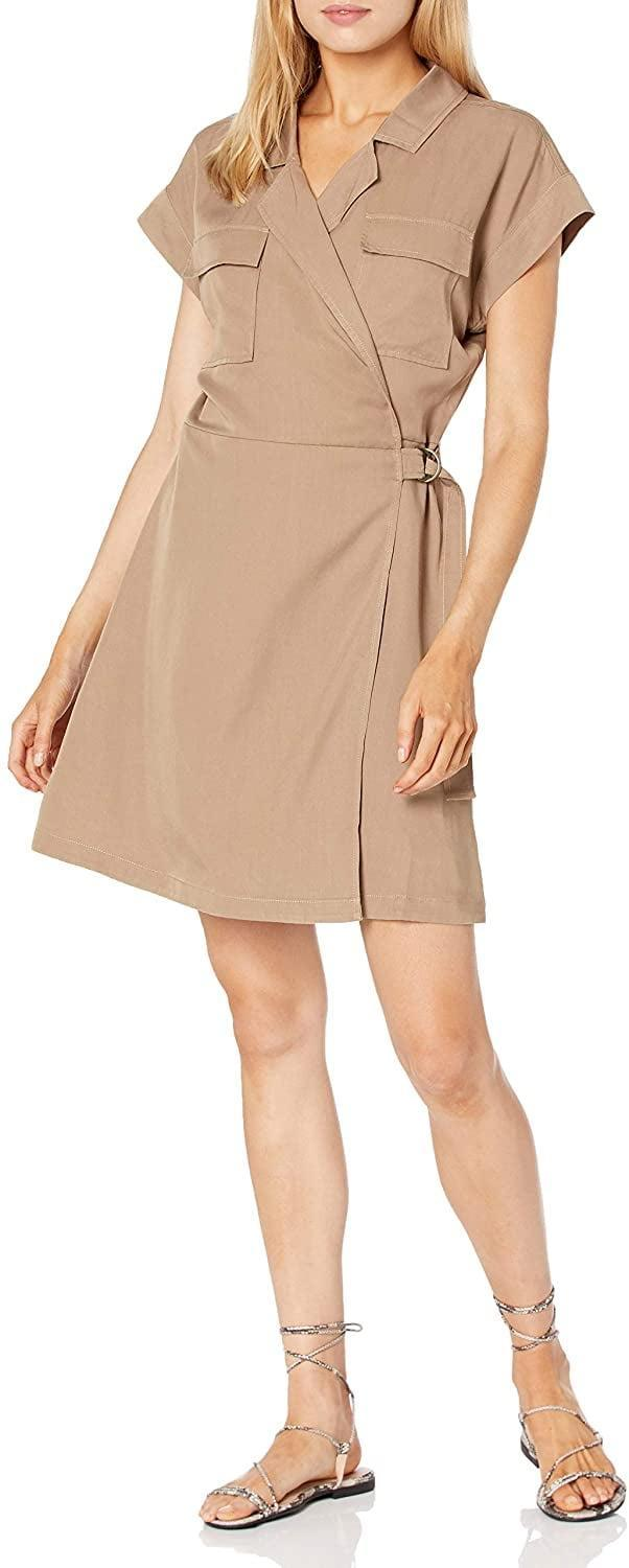 <p>This <span>The Drop Joanie Short-Sleeve Wrap-Front Utility Mini Dress</span> ($45) is quite flattering.</p>