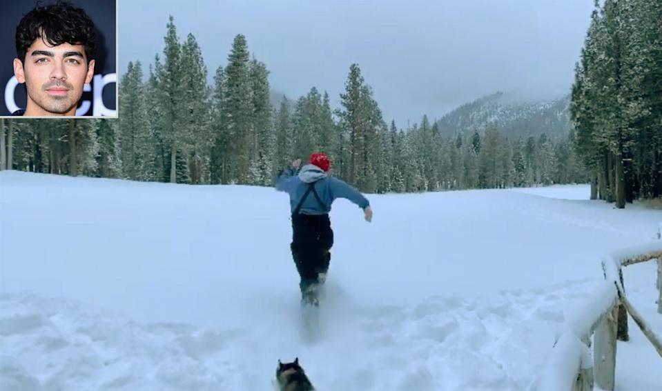 """<p>Snow much fun! The Jonas Brothers member and the three dogs he shares with his wife Sophie Turner <a href=""""https://www.instagram.com/p/CJUs7gJBNM4/"""" rel=""""nofollow noopener"""" target=""""_blank"""" data-ylk=""""slk:ran through some snowy fields"""" class=""""link rapid-noclick-resp"""">ran through some snowy fields</a> while on a trip to Lake Tahoe in the days just before New Year's Eve. </p>"""